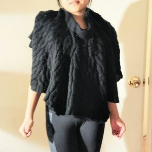 Black knitted poncho
